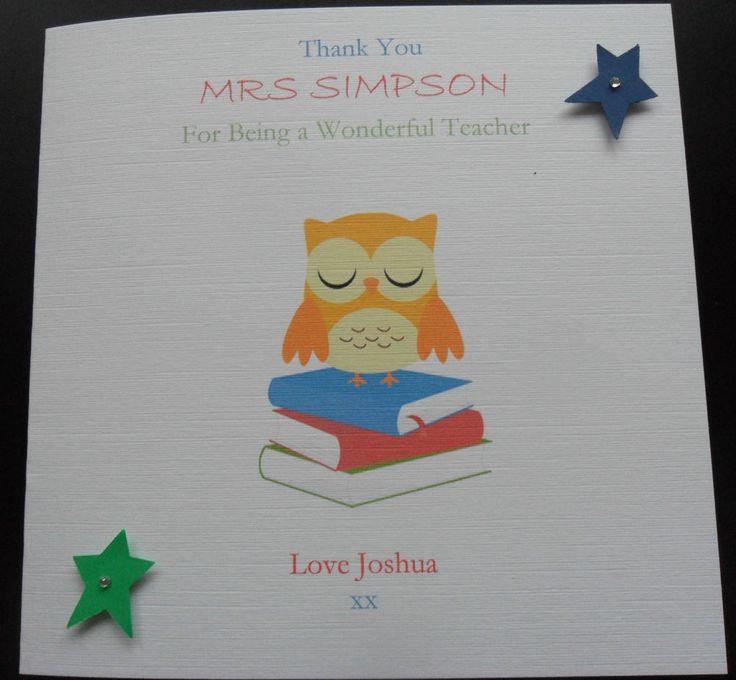 PERSONALISED THANK YOU TEACHER SCHOOL CARD  NURSERY ASSISTANT CARD