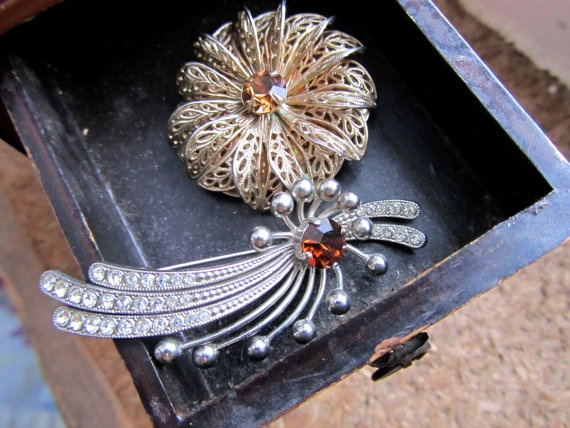 Vintage Rhinestone Filigree flower Dress Clip & by Scentedlingerie, $14.00