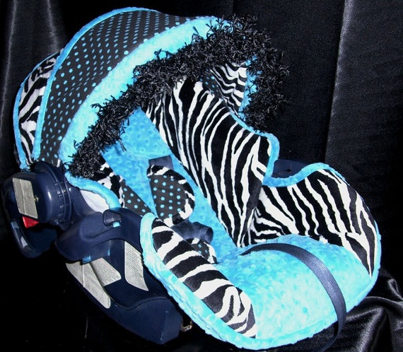 Aqua Teal Blue With Zebra Car Seat Cover By