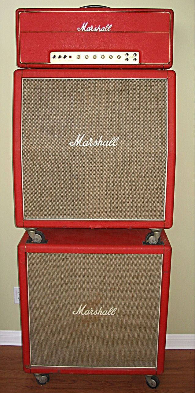 "guitarbage: "" Early 70's red Marshall stack """