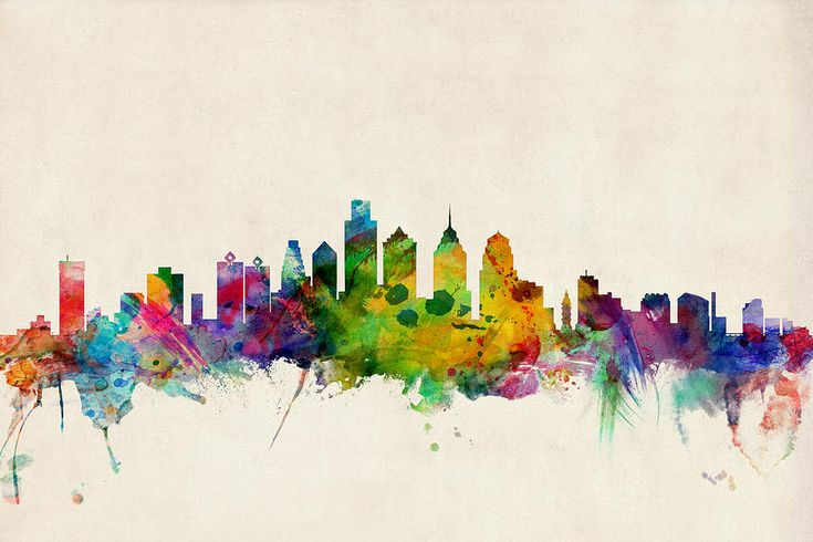 Philadelphia Skyline Digital Art  - Philadelphia Skyline Fine Art Print