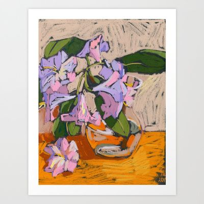Rhododendron in a vase. Soft pastel. Still life. Art Print by Kira Sokolovskaya - $14.48