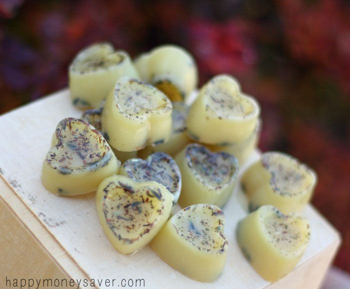 Moisturizing, stress relieving and homemade Honey Lavender Bath Melts made with shea butter, cocoa butter, essential oils, herbal tea and dried lavender.