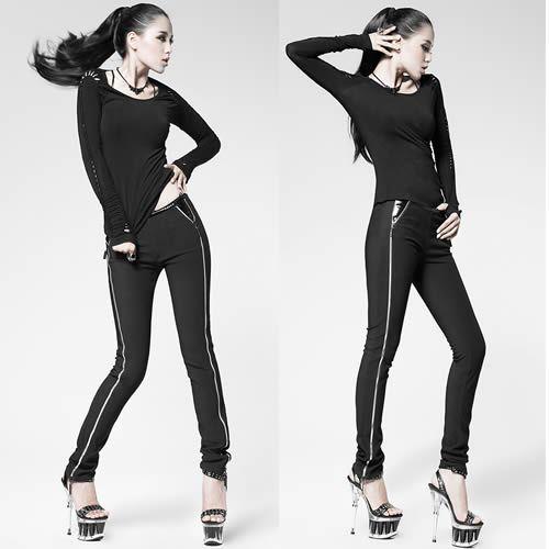 Women Black Gothic Punk Fashion Clothing Casual Sweat Pants Trousers SKU-11404268