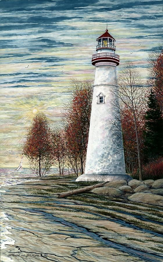 Eagle Bluff Light by Steven W Schultz ~ lighthouse watercolor