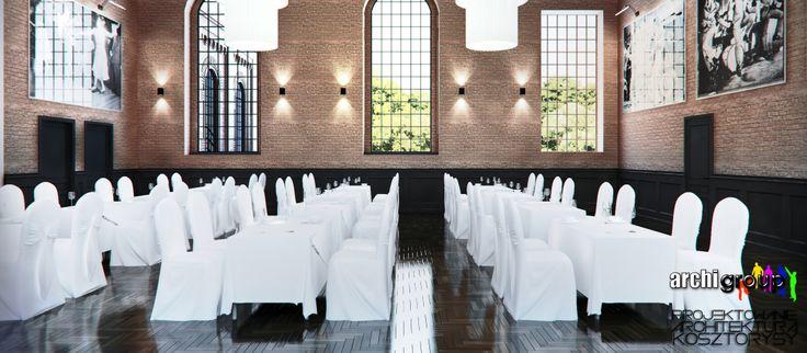 Sala główna restauracji. Projekt wnętrz restauracji w Bytomiu / Interior design of a restaurant in Bytom. Main hall of the restaurant.