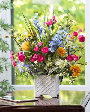 Larkspur, Ranunculus & Rose<br>Silk Flower Arrangement