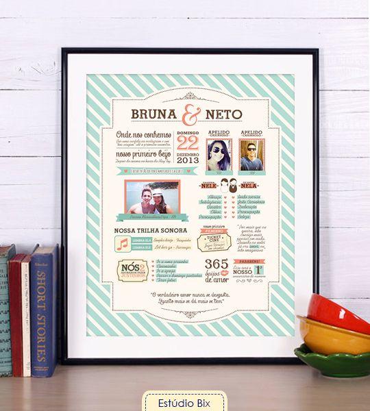 Poster Nossa História - casamento, aniversário, namoro, presente, personalizado, fotos, namorado, casal, criativo, poster, namorada criativa