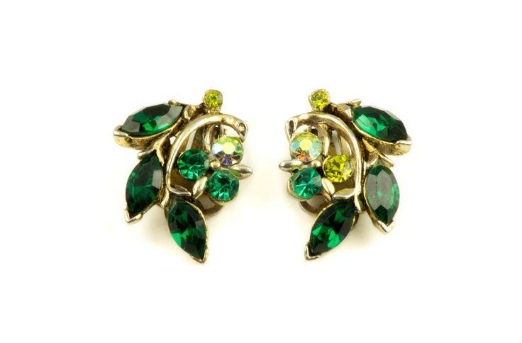 Vintage Emerald Green Glass Rhinestones Gold Tone Metal Earrings  1970s by MariniJewellery on Etsy