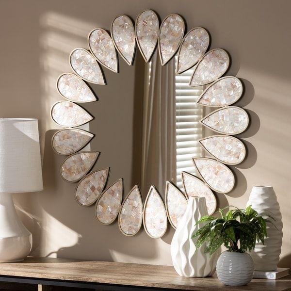 Contemporary Antique Silver Round Wall Mirror By Baxton Studio