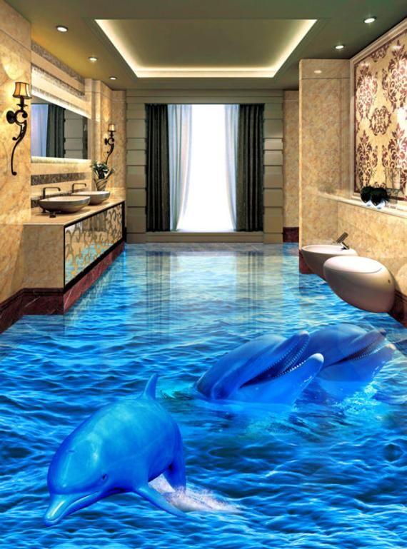 3d Dolphin Sea F718 Floor Wallpaper Murals Self Adhesive Etsy In 2020 Floor Murals Floor Wallpaper Floor Design