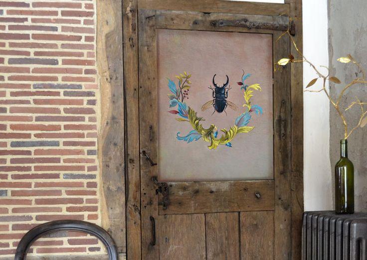 Papier peint scarabée - Illustratrice Sandrine Chambéry - papier peint unique de…