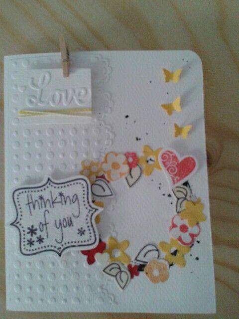 Card con piccola ghirlanda di fiori