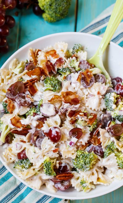 Pasta Salad with grapes, bacon, and broccoli. Perfect blend of sweet and salty. Replace broccoli with spinach.