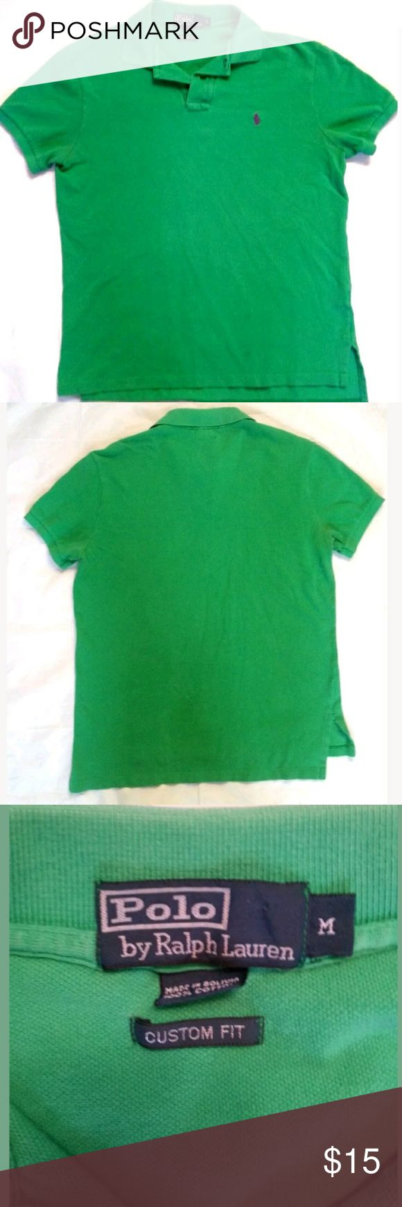 Polo Ralph Lauren Green Polo Shirt size Medium Polo Ralph Lauren Green Polo Shirt size Medium Observe all pictures, has normal fading from standard wash and wear. Has a tiny hole underneath button area. Not noticeable unless at close eye level. Great color,classic look  Armpit to Armpit-approx 21 inches  Shoulder to Hem- approx 25 inches  Measurements are estimates Polo by Ralph Lauren Shirts Polos
