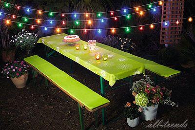 50er LED-Lichterkette bunt Außenbereich Partylichterkette 9,5m Gartenbeleuchtung