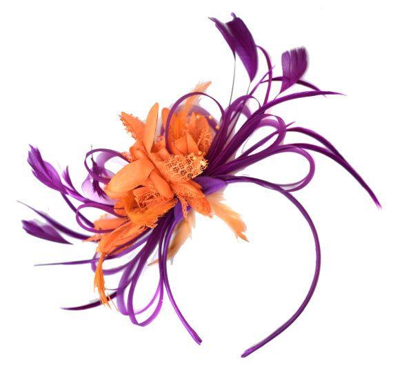 Magenta Plum and Orange Fascinator on Headband Alice by Caprilite