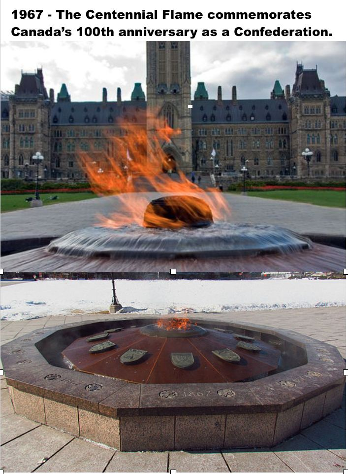 The 'Centennial Flame' on Parliament Hill was unveiled January 1, 1967 commemorating Canada's 100th anniversary as a Confederation The Flame is fuelled by natural gas and surrounded by a fountain whose ledge contains the shields of 12 of Canada's provinces and territories—Nunavut is absent as it was not created until 1999.
