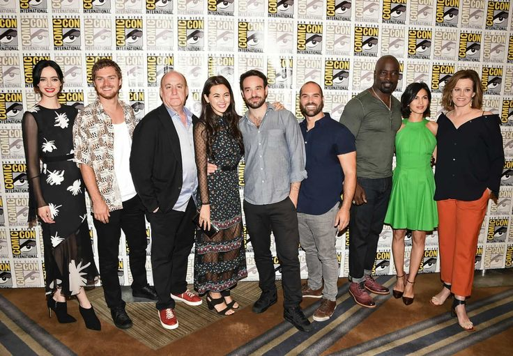 """Netflix took to Comic Con in San Diego to unveil the new trailer for it's upcoming """"The Defenders.""""  The miniseries, which is part of the Marvel Universe, unites Daredevil, Jessica Jones, Luke Cage, and the Iron Fist. Together, the four set out to save New York City from The Hand.  Each of the heroes has had their own introductory series.   #Charlie Cox #Comic Con 2017 #Daredevil #Elden Henson #Elodie Yung #Finn Jones #Iron Fist #Jessica Jones #Jon Bernthal #Krysten Ritter #L"""