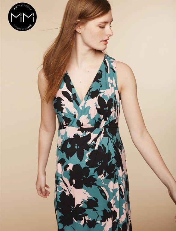 ee1a16033bcb0 MiMi Twist Front Maternity Maxi Dress, Black Floral Print   MiMi ...