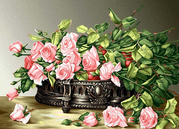 ružové ruže - Схемы вышивки - he4lin6da - Авторы - Портал «Вышивка крестом»
