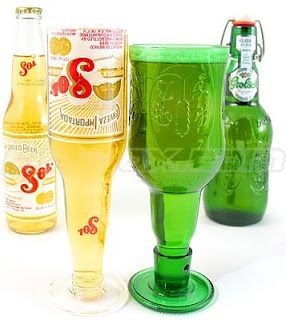 OMG its so easy!! I'm trying this TODAY !!  DIY recycled beer bottle wine glasses