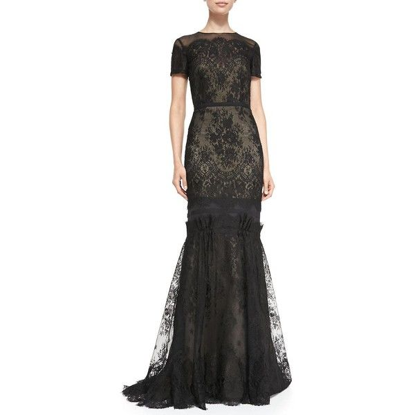 Carolina Herrera Short-Sleeve Tiered Lace Evening Gown ($5,990) ❤ liked on Polyvore featuring dresses, gowns, nude black, short sleeve lace dress, lace fitted dress, trumpet gown, tiered dress and tiered lace dresses