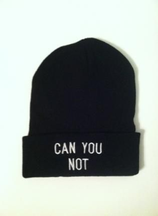 "Black Beanie - Black ""Can You Not"" Printed"