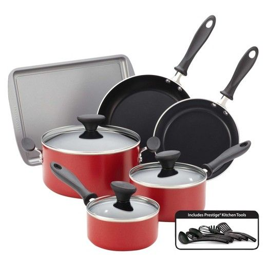 A dependable, contemporary cookware set is just the thing to get a kitchen up and running. But what's better than that? If the set also comes with bakeware and tools! This Farberware® cookware and bakeware set has anything a cook or baker needs to create everything from breaded chicken cutlets to double chocolate chip cookies. Plus with the long-lasting Prestige® tools, whisking, stirring and serving has never been easier. <br><br>Farberware Reliance co...