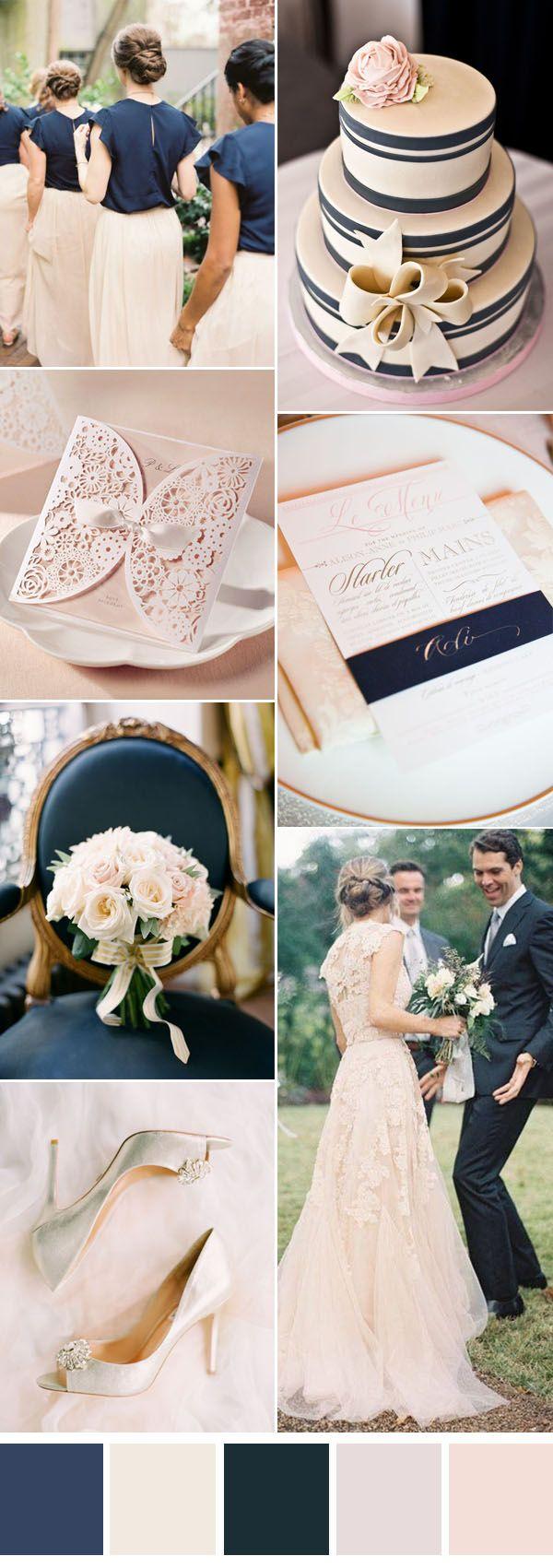 azul marinho e blush inspiração de casamento neutro
