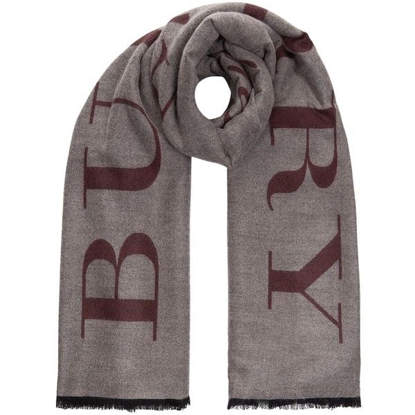 Burberry Emblem Print Cashmere Scarf ($1,325) ❤ liked on Polyvore featuring accessories, scarves, logo scarves, burberry, patterned scarves, burberry shawl and burberry scarves