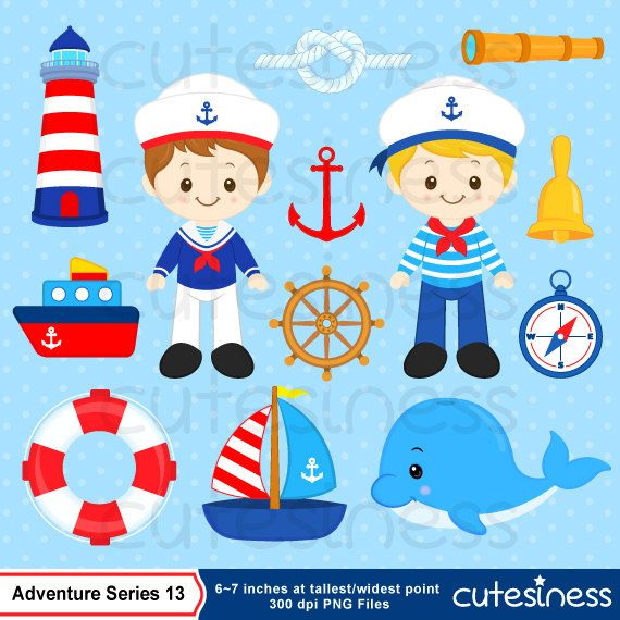 Nautical Clipart, Sailor Clipart, Navy Clipart, Ship Clipart