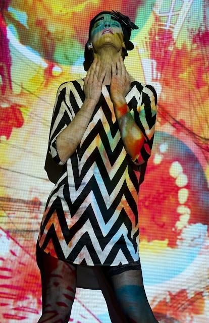 Futuristic Patterns  Photographer: Vanessa DeZutter  Stylist: Carmen Tsang  MUAH: Michelle Comtois  Model: Rachel, Numa Models  Light projections, patterns, colours, editorial, photo shoot, zig zag