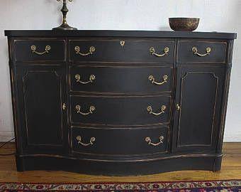 Vintage Dresser / Buffet, Antique Dresser / Buffet, shabby chic dresser, Black buffet, distressed black dresser / buffet, free NYC delivery #shabbychicdressersvintage