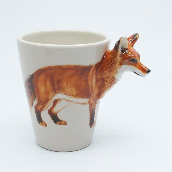 foxy coffee: Foxes Cups, Kitchens Design, Hands Paintings, Memorial Cups, Stuff, Memorial Mugs, Ceramics, Modern Kitchens, Products
