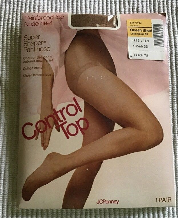 dd88bcba3a4 JCPenney Control Top Pantyhose Super Shaper Reinforced Toe Nude Heel Queen  NWT