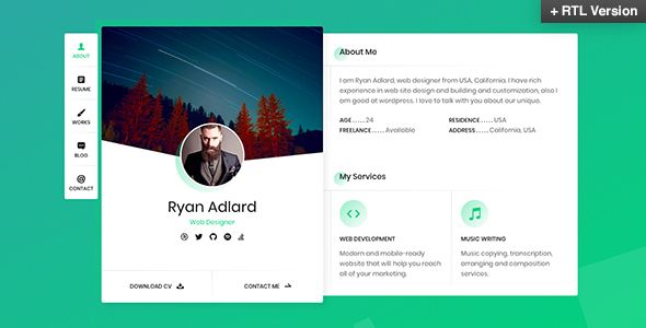 Ryan \u2013 vCard / Resume / CV Template \u2014 Perfect to promote your work