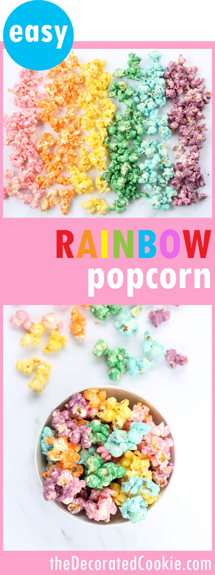 Easy, colorful RAINBOW POPCORN! Fun food idea for a rainbow party or a unicorn party. Colorful candy snack or treat.