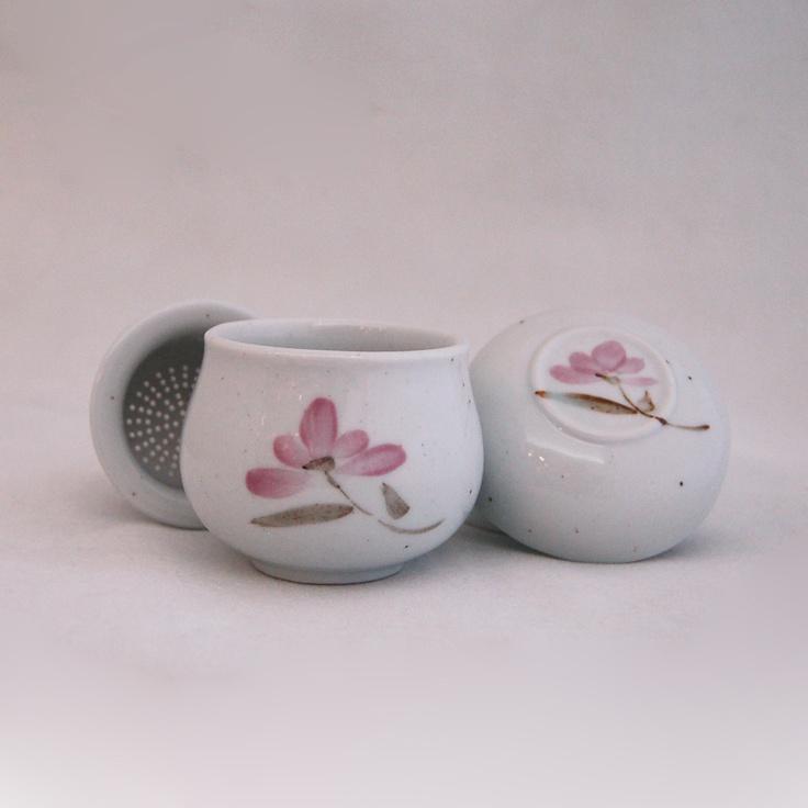 Tea Ware :: Individual Ceramic Mug :: Ye Doh Mug w/ Infuser [3pcs] - Cosmos Flower - Shopping Cart Software & Ecommerce Software Solutions by CS-Cart