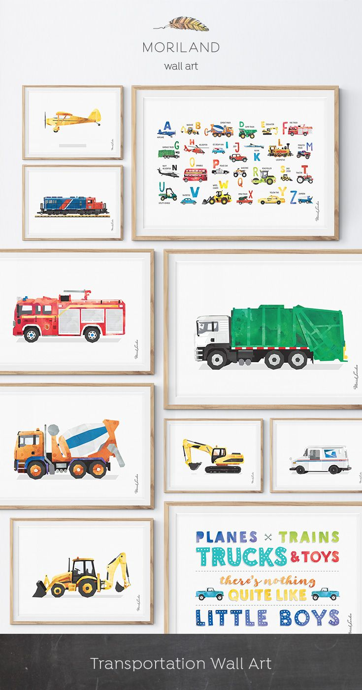Car Truck Wall Decals Transportation Road Signs Bus Taxi FIre Choose Style