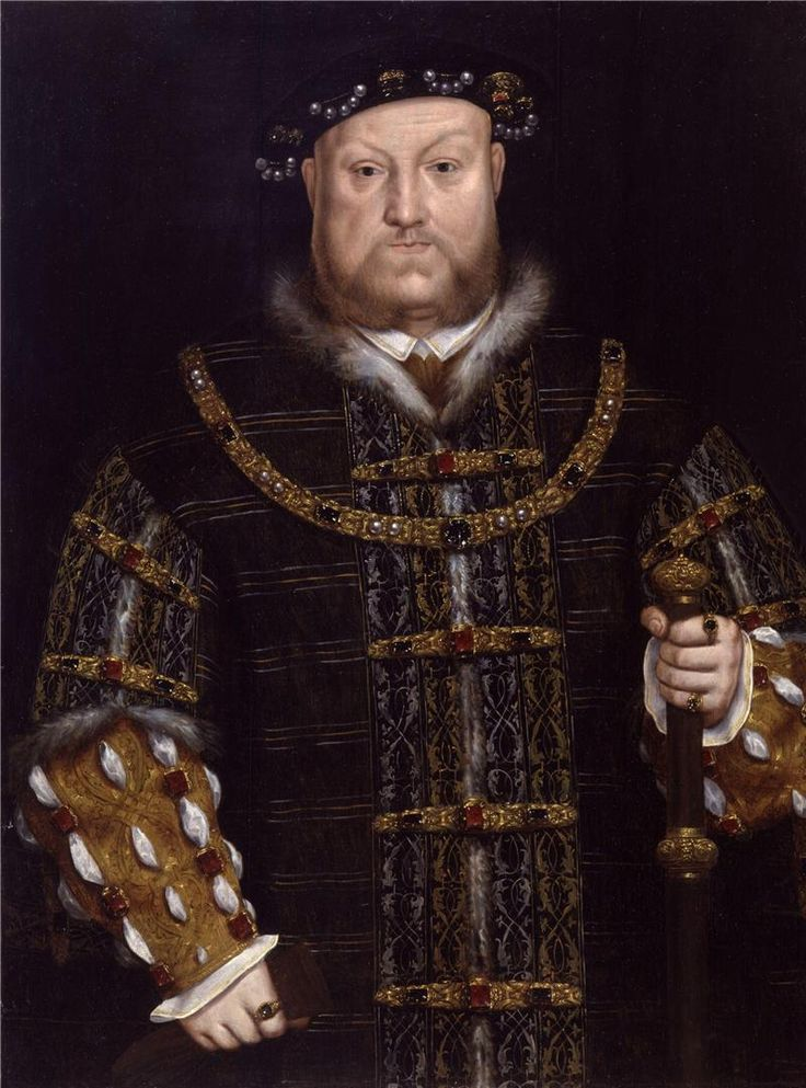 """ЧАСТЬ 2. Династия Тюдоров.1485- 1547.Генрих VIII.At home,he oversaw the legal union of England and Wales with the Laws in Wales Acts 1535 and 1542 and following the Crown of Ireland Act 1542 he was the first English Monarch to rule as King of Ireland.His contemporaries considered Henry in his prime to be an attractive,educated,and accomplished king,and he has been described as""""one of the most charismatic rulers to sit on the English throne""""."""