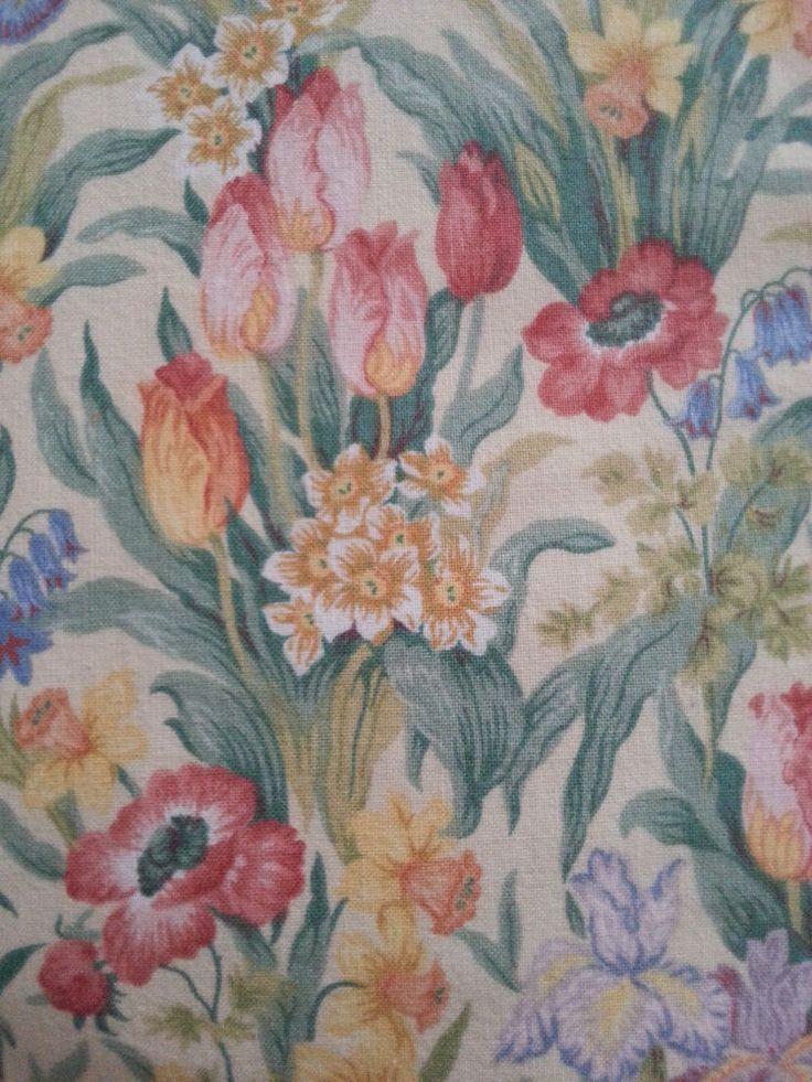Vintage Sanderson Salad Days Door Curtain Panel Fabric Spring Daffodils Tulips Vintage Fabric