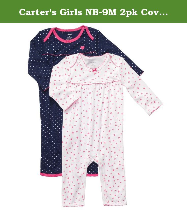 Carter's Girls NB-9M 2pk Coverall (Newborn, Pink/Navy). Getting baby dressed is a snap in these super soft cotton jumpsuits that snap at the legs for easy changes.