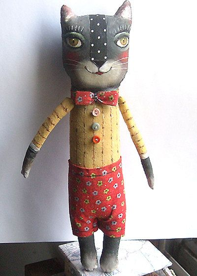 Original art doll folk art Black Cat boy with red pants by Emilia Perussi (miliaart)
