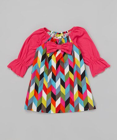 Loving this Hot Pink & Yellow Chevron Dress - Infant, Toddler & Girls on #zulily! #zulilyfinds
