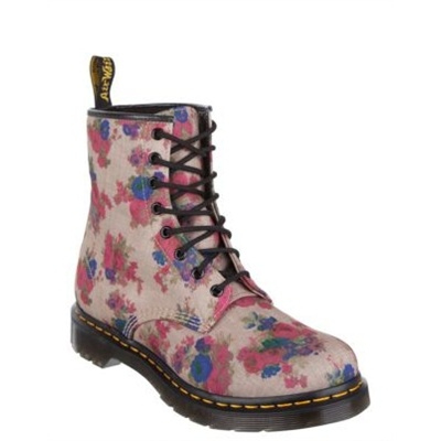 Dr Martens - Print Castel 8 Eye Boot - Flat Boots (Taupe Vintage Bouquet)Only available in Australia. At www.shoesonline.com.au
