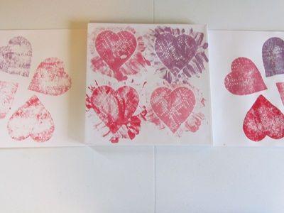 Pretty purple paper towel heart art…