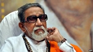 Bal Thackeray (file photo - April 2012)  Thackeray was revered by followers of the right-wing Shiv Sena party he founded.
