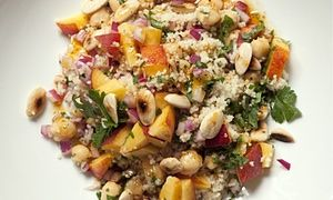 Chickpea and nectarine couscous on a plate