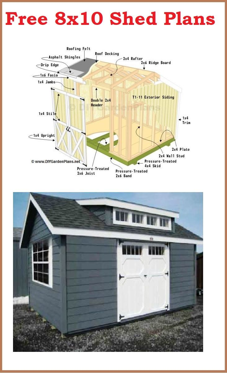 Shed Plans 8x10 Storage Shed Plans 8x10 Shed Backyard Shed Backyard Sheds
